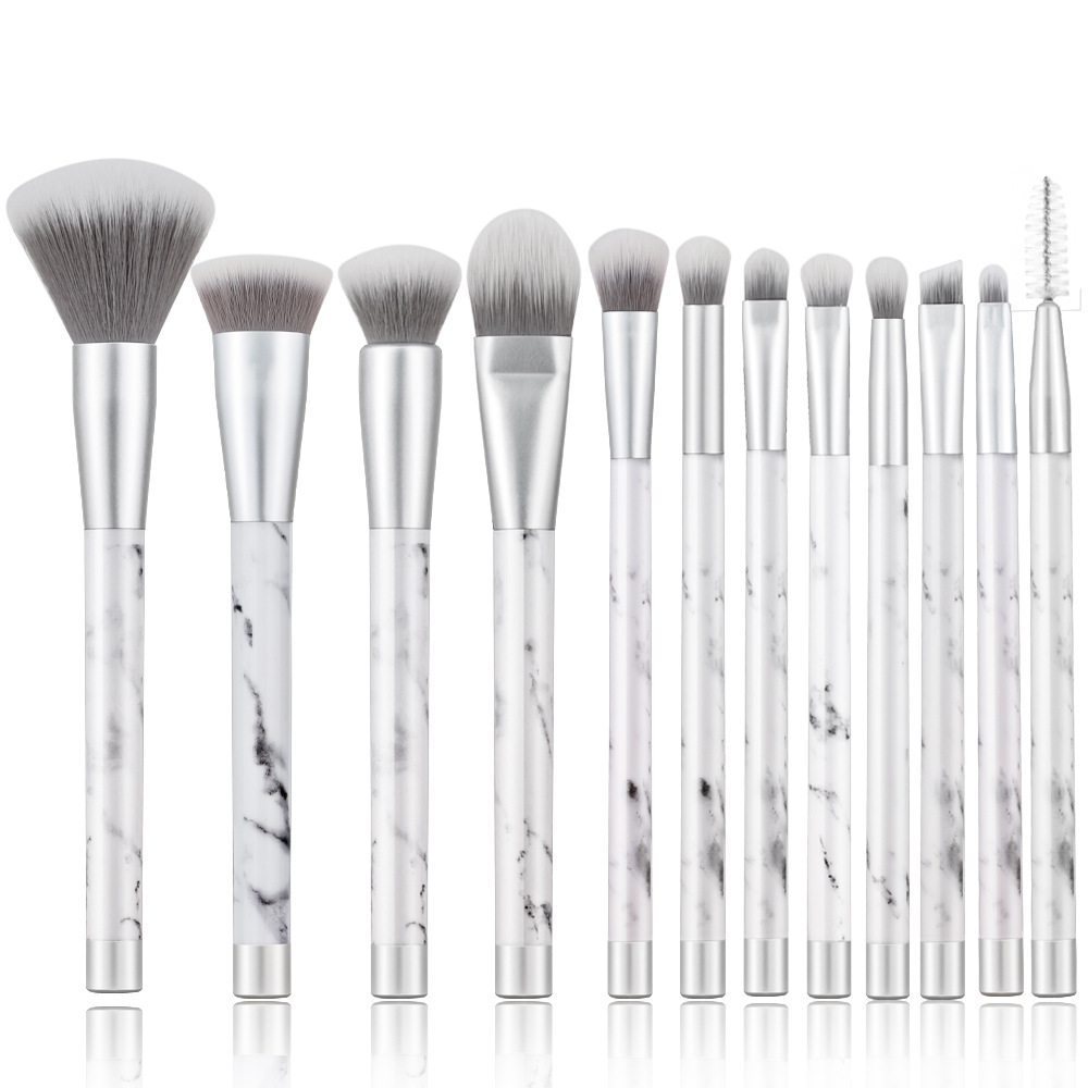 BBL 12pcs Silver Marble Makeup Brushes Set Reals Foundation Powder Contour Blush Face Blender Brush Kit Professional Marbleised