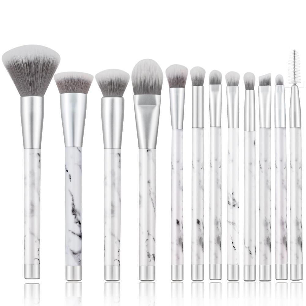 BBL 12pcs Silver Marble Makeup Brushes Set Reals Foundation Powder Contour Blush Face Blender Brush Kit Professional Marbleised