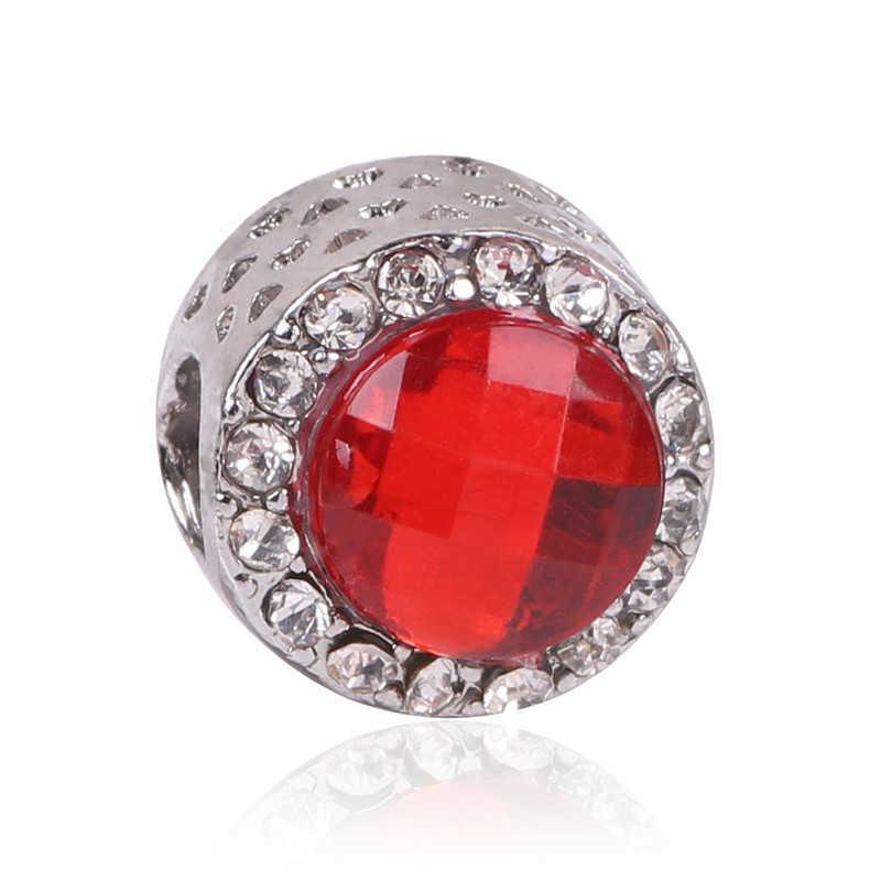 AIFEILI כסף צבע צורת לב אדום קסם חרוזים Fit פנדורה צמיד DIY מקורי כסף DIY אהבת תכשיטי נשים
