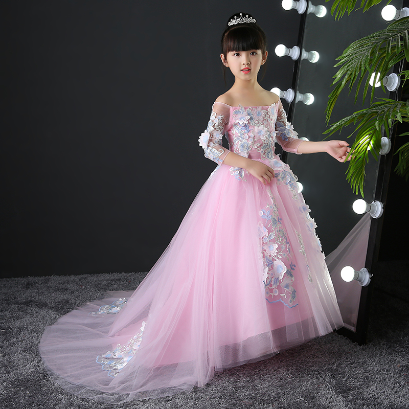 цена на Embroidery Princess Dress Flower Girl Dress Summer Tutu Wedding Long Formal Dress Birthday Party Dresses Floral Ball Gown A32