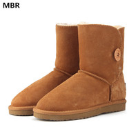 MBR New UG Women Snow Boots Fashion Quality Genuine Suede Leather Australia Classic Warm Winter Shoes