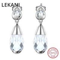 LEKANI Crystals From SWAROVSKI Wedding Jewelry Real S925 Silver Water Drop Earrings For Women Party Fashion Piercing Joyas 2018