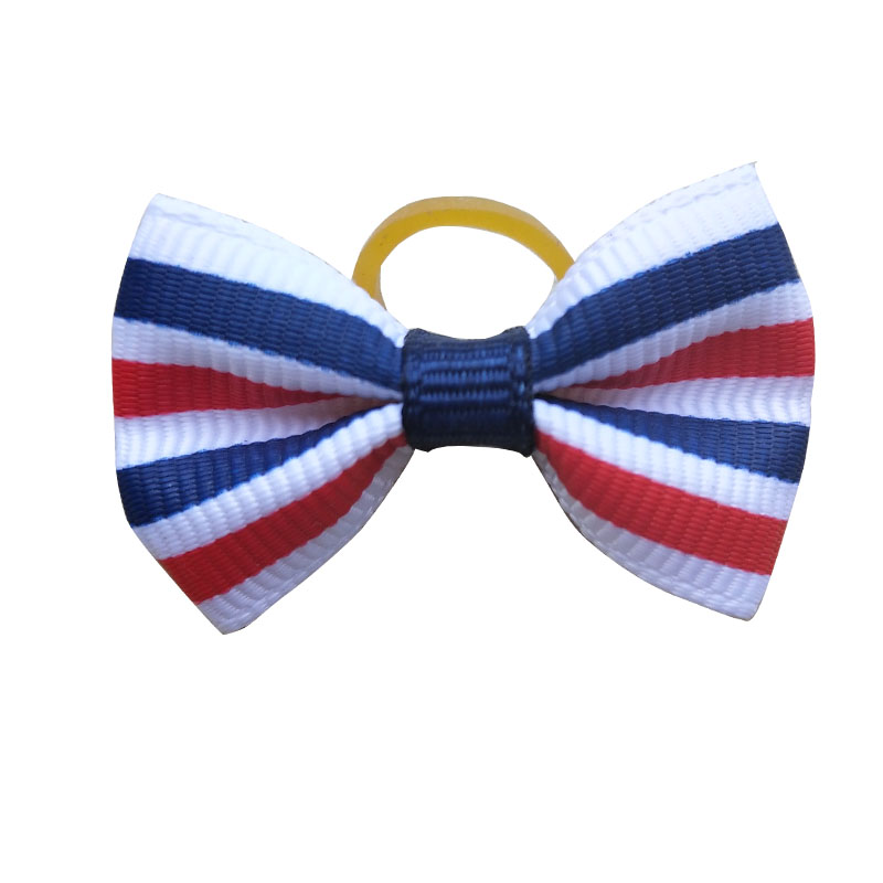 Image 2 - 100pcs Dog Bows Red White Blue Pet Dog Hair Accessories Hand made Independence Day Pet Dog Bow Rubber Bands Pet ShopDog Accessories   -
