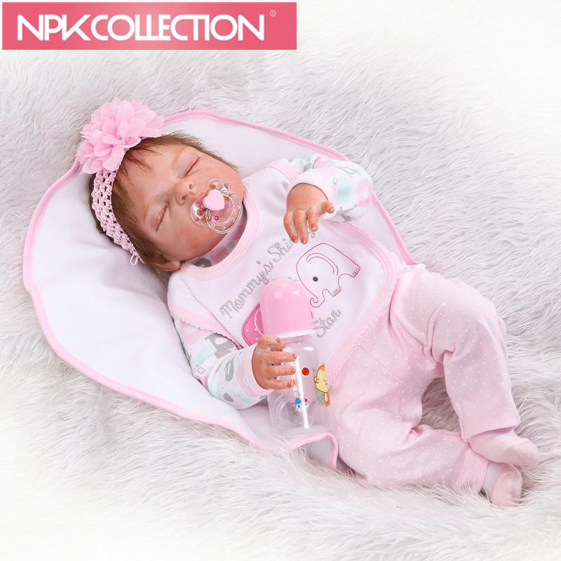 56cm Full Body Silicone Reborn Baby Doll Toy 22inch  Skin Newborn Girl Princess Toddler Babies Doll Child Bathe Toy