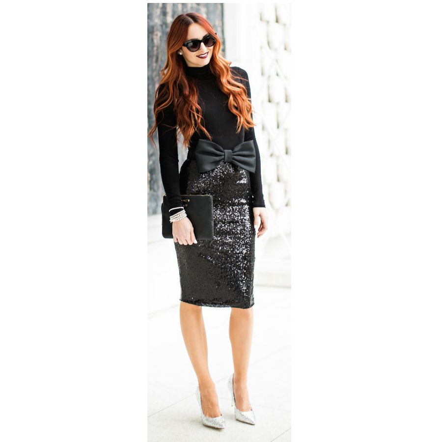 Blingbling 2017 Black Sequined Elastic Skirts For Women Sexy Mid Length Sexy Pencil Skirt Ziper Style