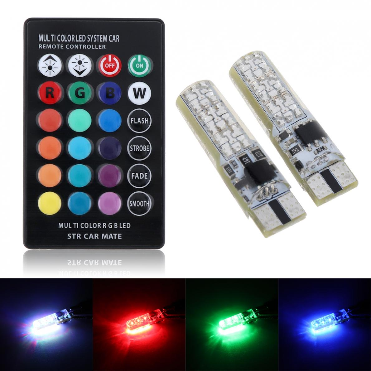 2Pcs / set 5050 SMD RGB LED T10 194 168 W5W car wedge light turn signal indoor dome wedge read light bulb with remote control 2x t10 w5w 168 194 smd 6 led 5050 remote control rgb car reading wedge lights for car tail light side parking door lighting