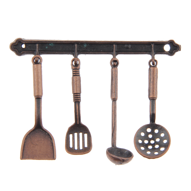 5pcs 1:12 Doll House Miniature Metal Kitchenware Bronze Dollhouse Model Cook Set Classic Kitchen Supplies Parts Toys Hobbies