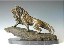 Bronze Sculpture Lion King Formidable Statue Animals Lions Carving Hotel Office Decoration Business Gifts