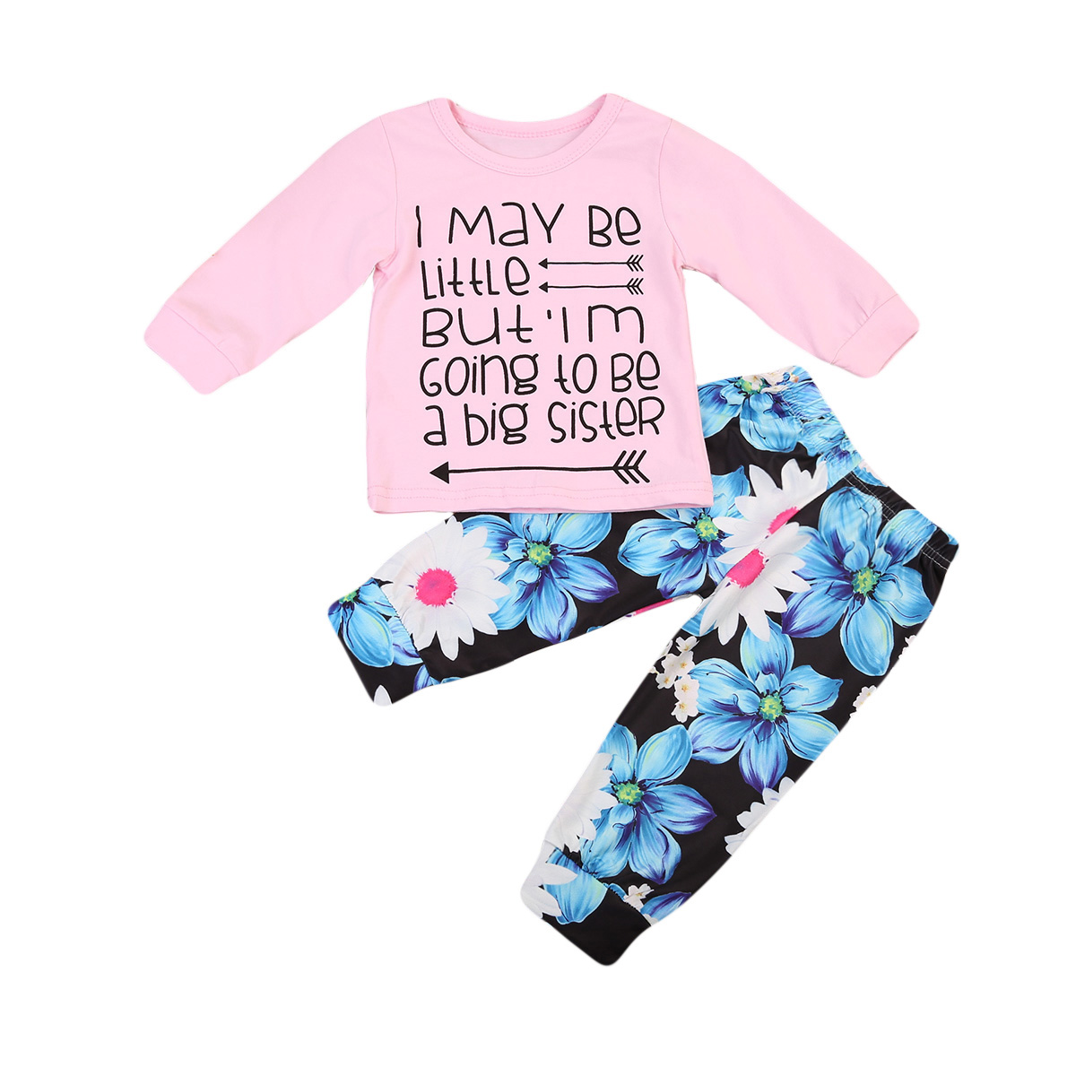 Newborn Toddler Kids Baby Girls Clothes Long Sleeve Letter Prined T Shirt Tops+Flowers Pants Outfits Set