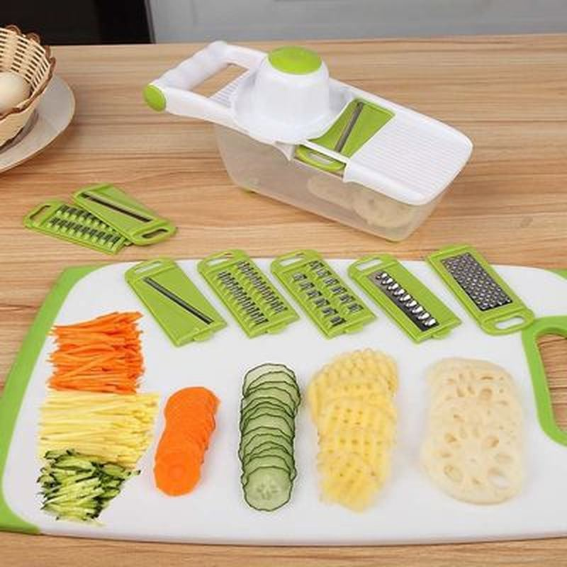 Manual Mandoline Slicer with 8 Interchangeable Blades Used as Potato Peeler Carrot Grater 1