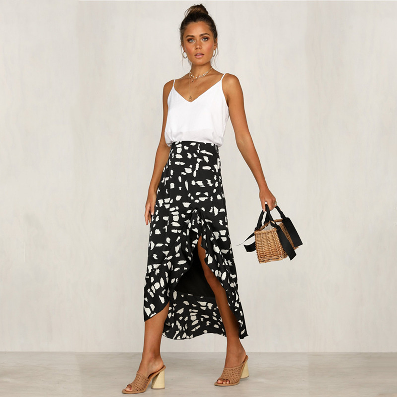 Women sweet ruffles Dot skirts elastic waist ladies casual mid calf skirts Vintage female Irregular Print Skirts Female Summer in Skirts from Women 39 s Clothing