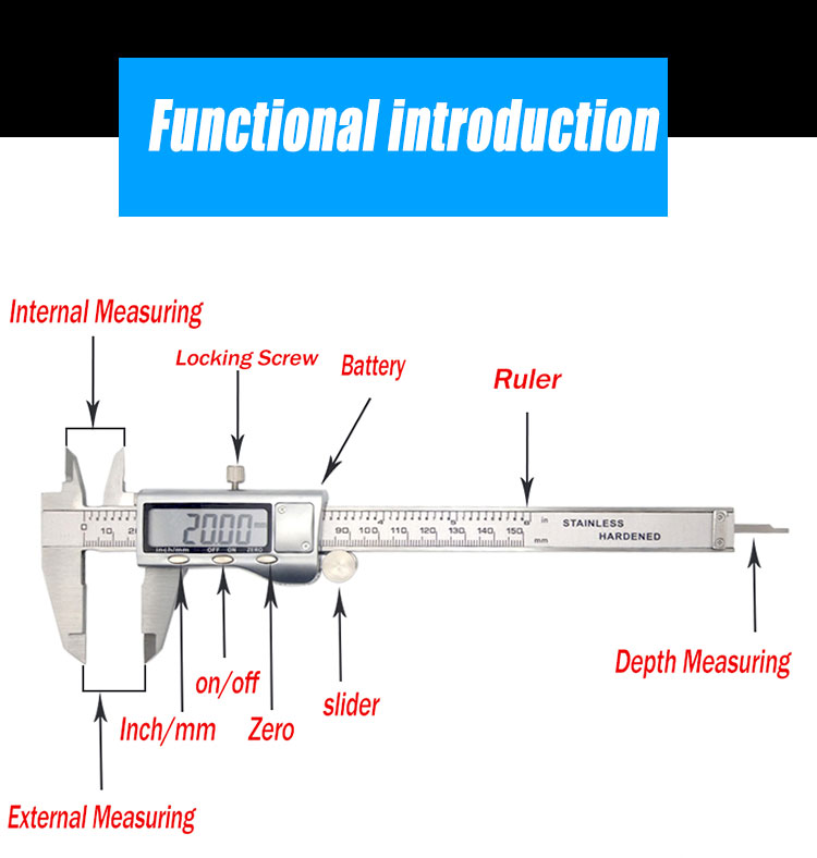6-Polegada vernier paquímetro Digital de 150 milímetros