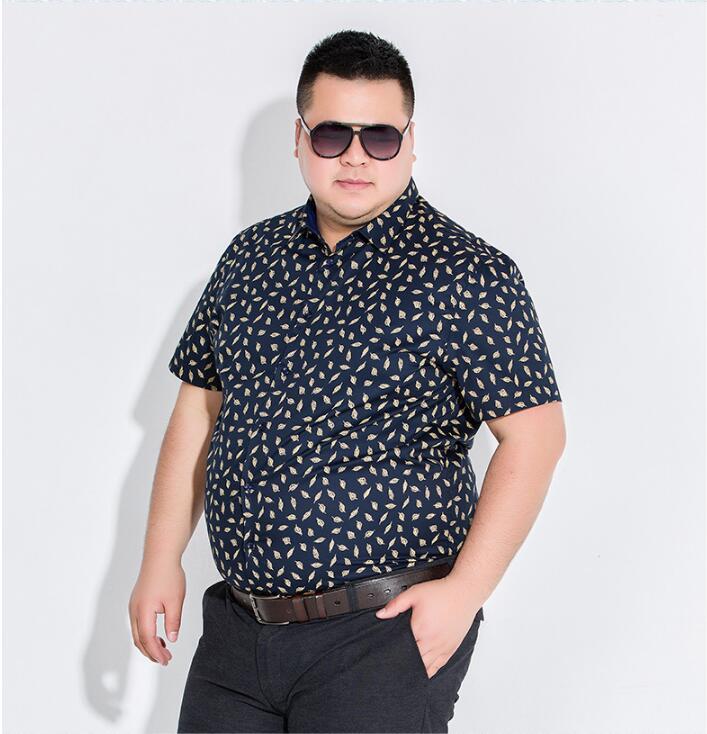 100% Cotton shirt men Short sleeve Fat guy shirt Big size