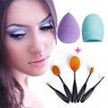 Hot Sexy 5 unids Productos de Belleza de Las Mujeres Oval cepillo de Dientes Fundación Herramienta Cosmética de Maquillaje Blush Brush + Esponja Puff Brushegg Hacer Set maquillaje