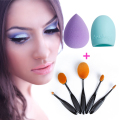 Hot Sexy 5pcs Cosmetic Products Women Beauty Oval Toothbrush Tool Foundation Makeup Blush Brush+Sponge Puff Brushegg Make Up Set