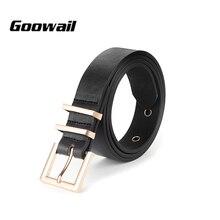 Goowai 2018 Female Cummerbunds Women  Belts  Rose Gold Metal Buckle with two keeper for Women high quality Pu Belt for jeans