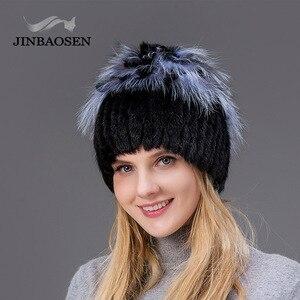 Image 3 - Woman winter Russian fur fashion real fur hat mink fur rabbit natural fox knit wool ski hat warm ear protection travel hat