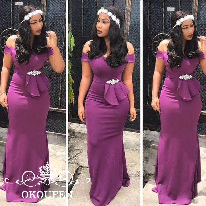 Purple Satin Mermaid Long Bridesmaid Dresses With Beads Waist Maid Of Honor For Women 2018 Cheap Off Shoulder Prom Dress Gown