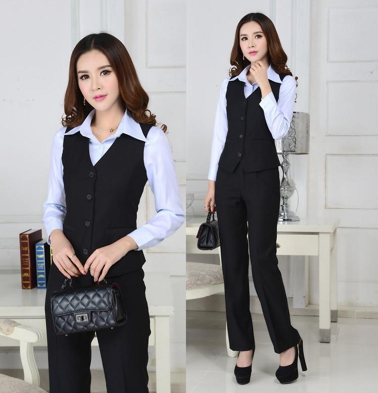De Professional Bureau Printemps Gilet Formelles Dames Pantsuits Black Pantalon Élégante Work Mode Taille Business Costumes La Automne Plus Wear qfy4EH164