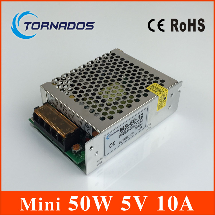 50W 5V 10A Switching Power Supply Mini size LED Switching Power Supply Transformer AC 170-264V to DC 5V (MS-50-5) meanwell 12v 350w ul certificated nes series switching power supply 85 264v ac to 12v dc