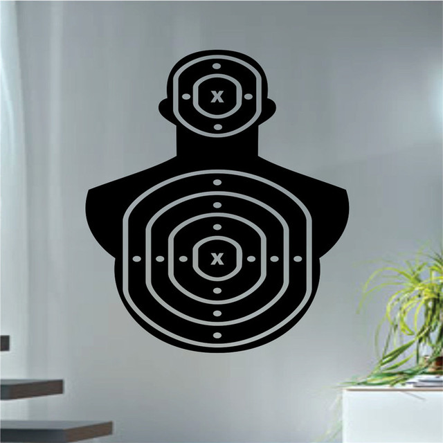 Shooting Range Wall Decal Special Design Target Version Cool Wall Stickers  Gun Art Mural Removable Waterproof
