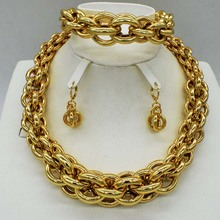 High Quality  Italy 750 Gold Color Jewelry Set For Women african beads jewlery fashion necklcace set earring ethiopian jewelry
