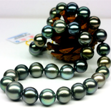 925 silver real natural big Tahitian Black Pearl Necklace 12-15 round very bright light natural