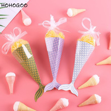 HOHOGOO 10pcs Mermaid Paper Candy Gift Bags Little Party Supplies Birthday Gifts Baby Shower Wedding Favor Bag