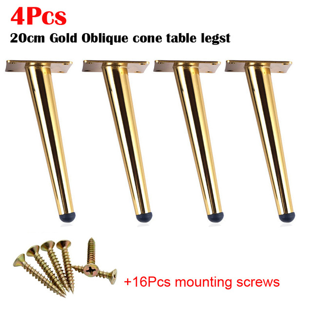 4pcs Stainless Steel Furniture Legs 20cm Tables Cabinets Feet Sofa Bed TV Cabinet Foot With Mounting Screws Golden Oblique Feet