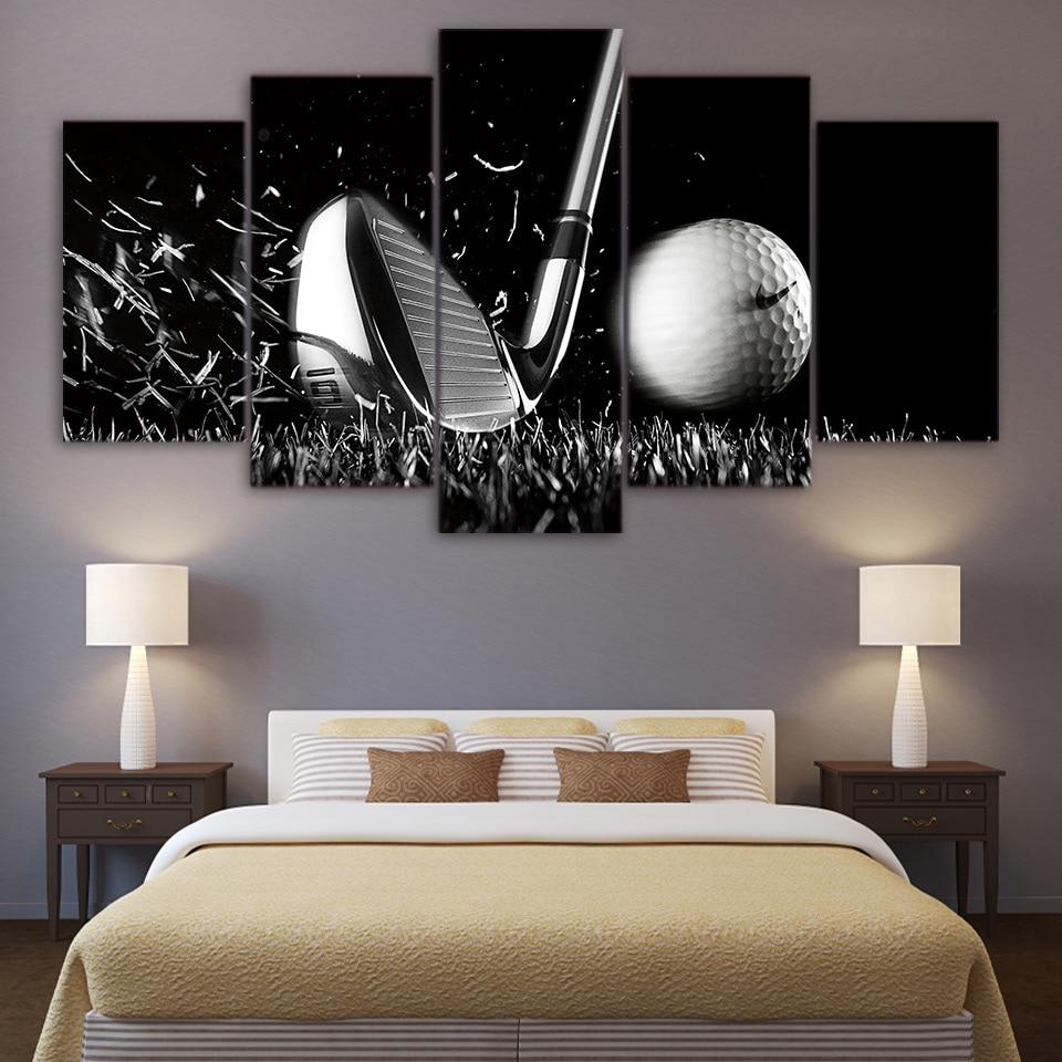 5 Stücke Stillleben Schwarz Und Weiß Golf Wandkunst leinwand Bilder ...
