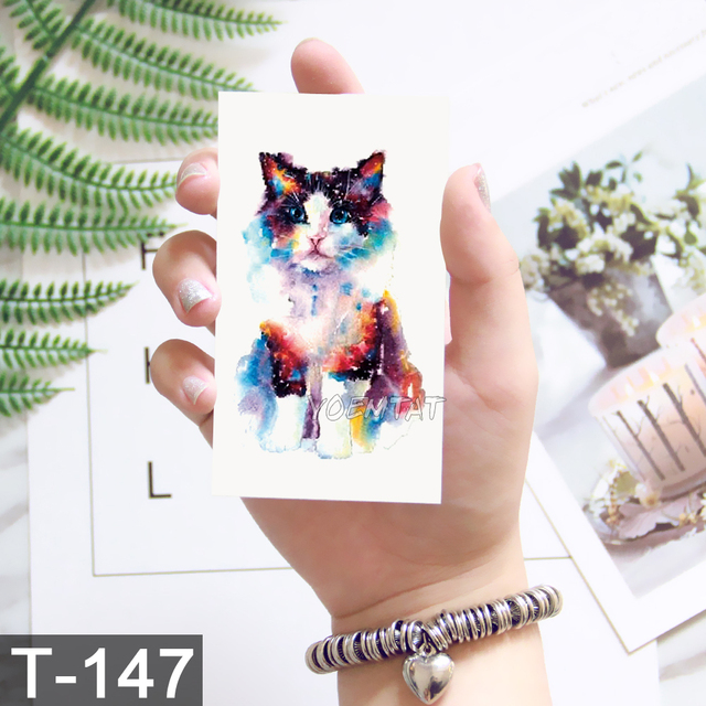 600f0949c Planet Cat Temporary Tattoo Sticker for Women Men Kid Fashion Body Art  Adults Waterproof Hand Fake Tatoo 10.5X6cm