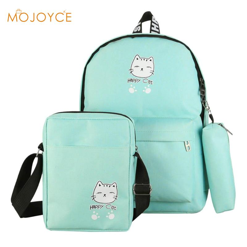 a1467ae5e Detail Feedback Questions about 3Pcs/Set Cartoon Printed Women Canvas  Backpacks Schoolbags Girls Travel Student Shoulder Crossbody Bag Teen  Composite Pouch ...