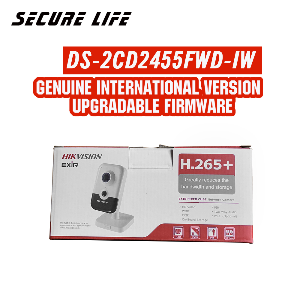 Hikvision DS-2CD2455FWD-IW international version 5MP EXIR Fixed Cube Network POE CCTV Camera wifi, up to 10m IR