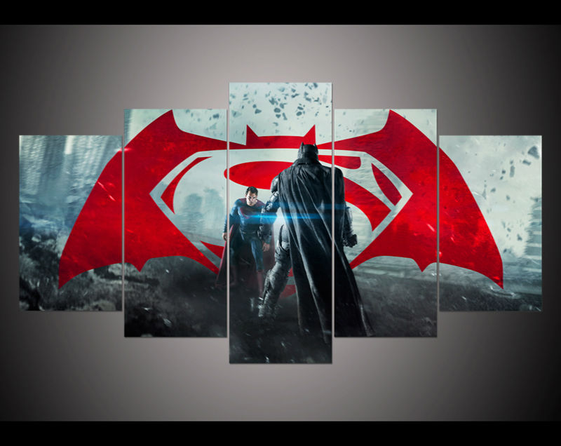 5 Panel Large Hd Printed Oil Painting Batman V Superman
