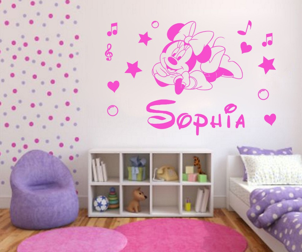 Minnie mouse wall decor roselawnlutheran pw144 personalised minnie mouse kids wall sticker diy vinyl decal customer made any name baby amipublicfo Choice Image