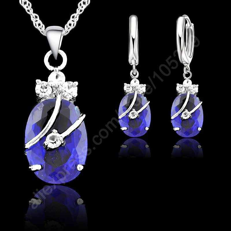 New Fashion 7 Colours Fine Oval Crystal 925 Sterling Silver Jewelry Set  Pendant Necklace Earrings Jewellery Collection