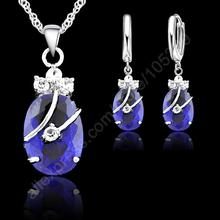 Baru Fashion 7 Warna Halus Oval Crystal 925 Sterling Silver Jewelry Set Liontin Anting-Anting Kalung Koleksi Perhiasan(China)