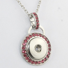 Papa Snap Round Silver Snap Button crystal Jewelry Pendant Necklace 60cm Link chain Fit 18mm Snap Necklace Jewelry Women 030409