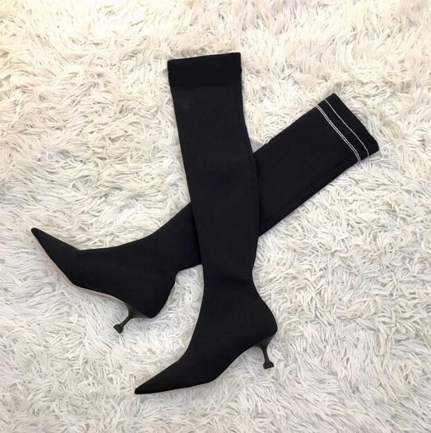 Womens Thigh High Boots Pointed Toe Black Knit Shoes Women Sock Boots Stretch Fabric Low Heels Over Knee Womens Chelsea Boots womens thigh high boots pointed toe black knit shoes women sock boots stretch fabric low heels over knee womens chelsea boots