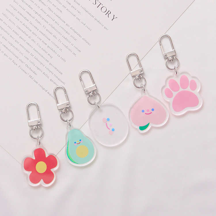 Cute Funnyns Peach Flower Dog Paws Smiley Face Cartoon Keychain For Women Trinket Key Chains Ring Car Bag Pendent Charm D281