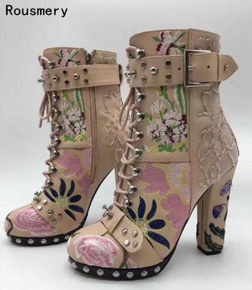 2017 new lace embroidery upper high-heeled Ladies boots lace-up buckle mid-calf boots rivet round-toe motorcycle boots double buckle cross straps mid calf boots