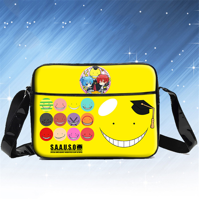 Japan Anime Cartoon Assassination Classroom Shoulder Bag PU Students School Daily Casual Book Bag Travel Messenger Bags anime assassination classroom cosplay fashion casual men and women travel bags birthday gift