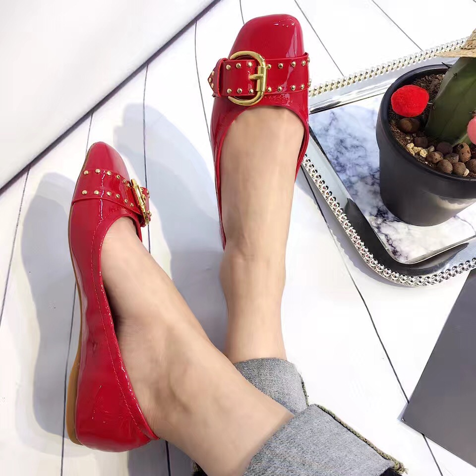 Black Red Rivets Flat Shoes Womens Shoes Loafers Square Toe Ballet Flats Soft Bottom Fashion Work