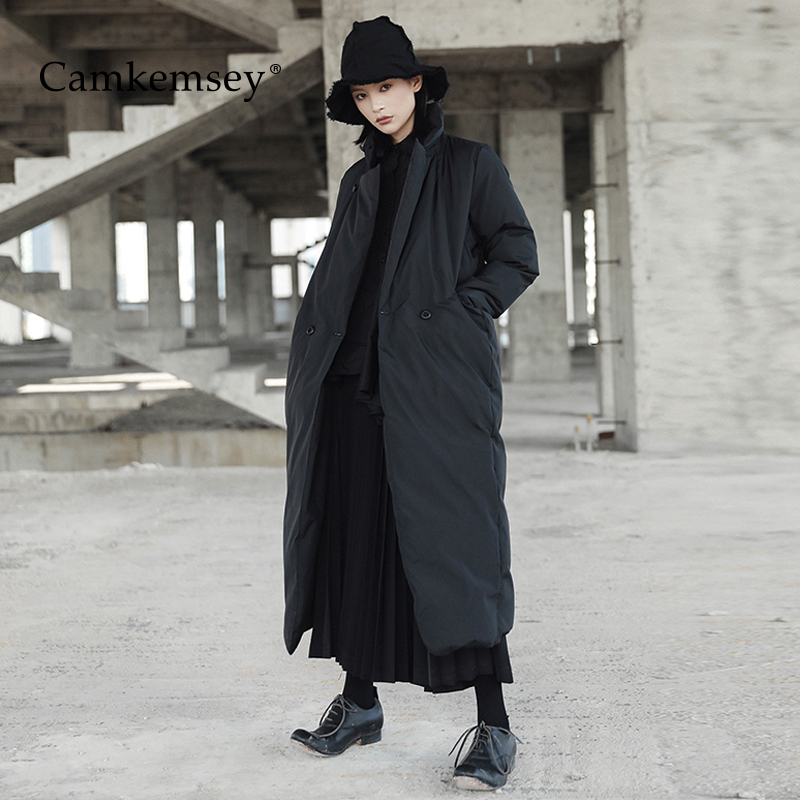 CamKemsey Fashion Black Thick Warm Down Cotton Padded Winter Coats Women Casual Stand Collar Loose Winter Long Jackets   Parkas