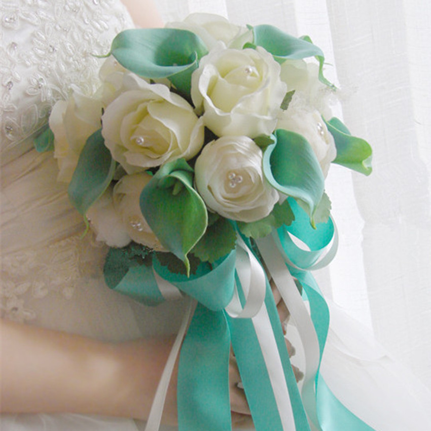 Bouquet Sposa Tiffany.New Handmade Original Wedding Hand Bouquets Bride And Bridesmaid