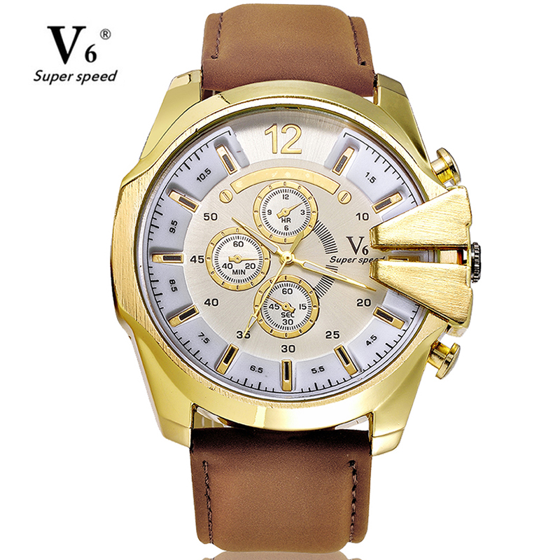 Fashion Business Male Big Size Watch Hour Clock Relogio Masculino Men Luxury Casual V6 Watch Leather Military Quartz Watch men s quartz relogio masculinos dial glass time men clock leather business round case hour watch relojes hombre levert dropship