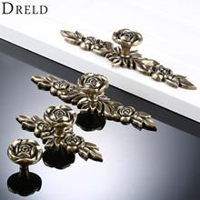 DRELD мебельные ручки в европейском стиле ручки для ящиков платяного шкафа кухонного шкафа двери тянуть Ретро Классическая Бронзовая Роза в форме цветка