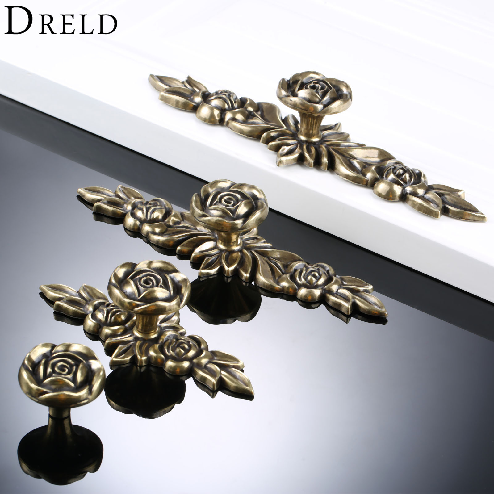 Image of: Big Sale 26a1 Dreld Furniture Handles European Style Wardrobe Drawer Knobs Kitchen Cabinet Door Pull Retro Classical Bronze Rose Flower Shape Cicig Co