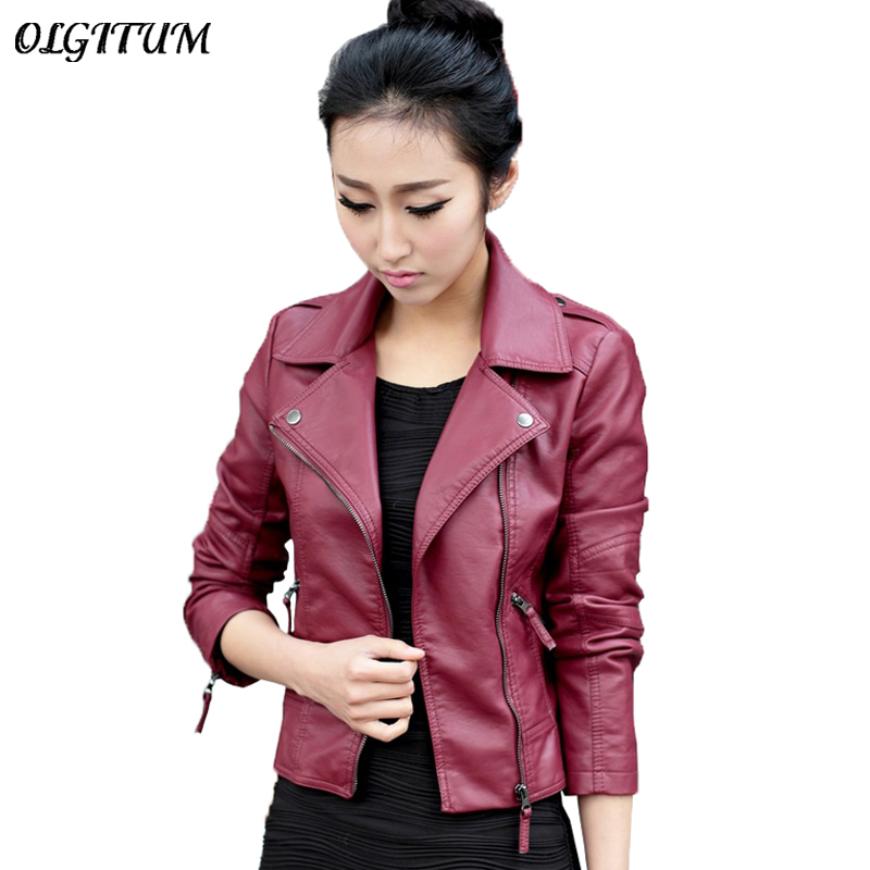 XS 4XL Hot Sale 2019 New Women Spring Autumn Jacket Black Red Fashion Female Coat Slim XS-4XL Hot Sale 2019 New Women Spring Autumn Jacket Black/Red Fashion Female Coat Slim PU Leather Short Outwear Jacket Plus Size