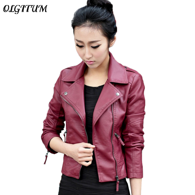 XS-4XL Hot Sale 2019 New Women Spring Autumn Jacket Black/Red Fashion Female Coat Slim PU Leather Short Outwear Jacket Plus Size